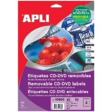 Etiketiniai lipdukai APLI, CD-DVD, A4