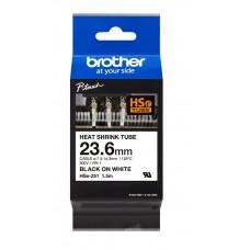 Brother karščiu veikiama cilindrinė juostelė HSE-251 23,6mm. (Balta / Juoda)